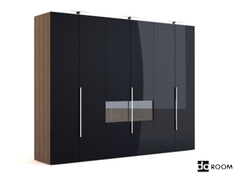 Black multi-door coats cabinet
