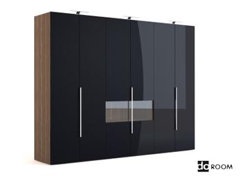 Black multi-door coats cabinet
