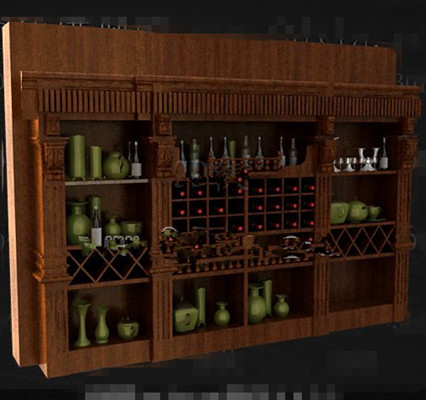 Brown multi grids wooden wine cabinet