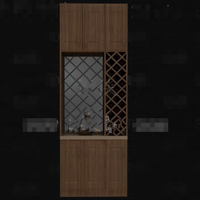 Retro hollow designed wine cabinet