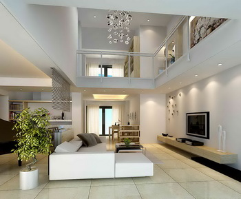 Duplex bright white living room