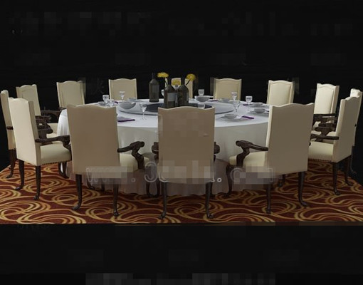 Beige round table and chairs combination
