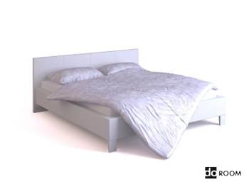 White simple double bed model