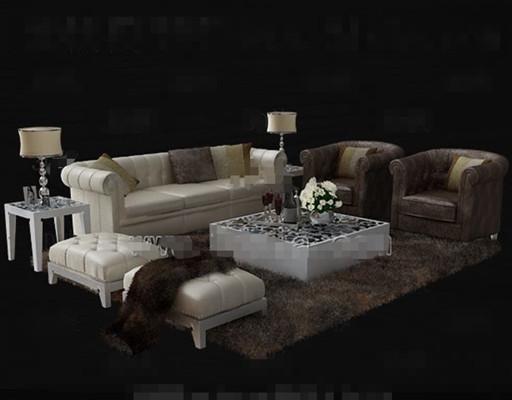 Luxury cortical white sofa combination