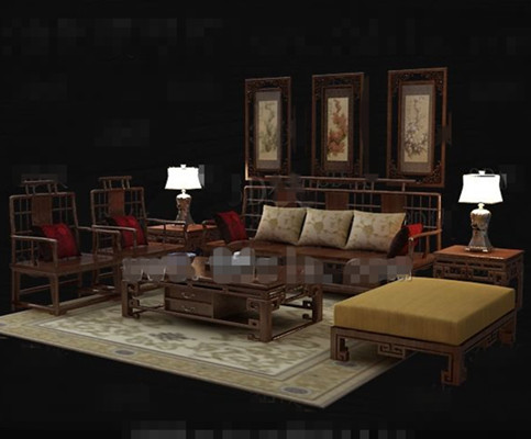Chinese style retro wooden sofa combination