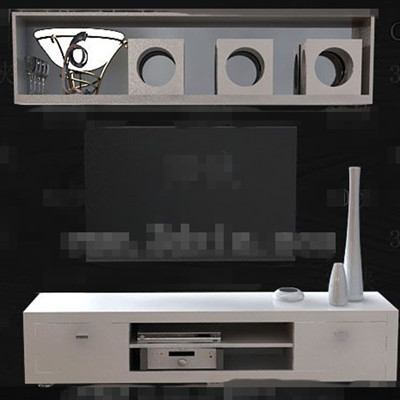 Simple white wooden TV cabinet