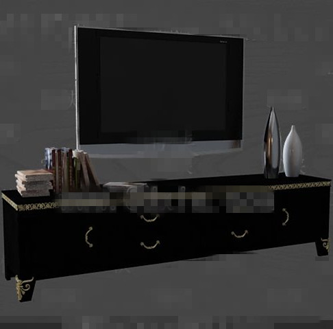 Modern wooden black TV cabinet