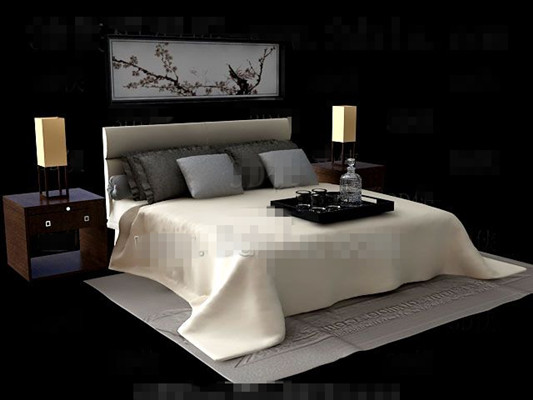 Chinese style elegant wooden double bed
