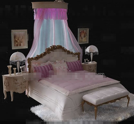 European style exquisite pink double bed