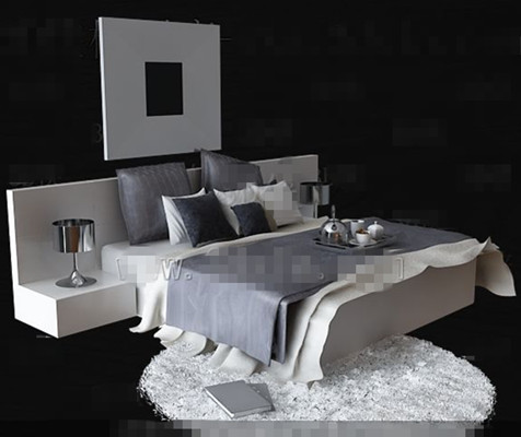 Fashion personality gray and white double bed