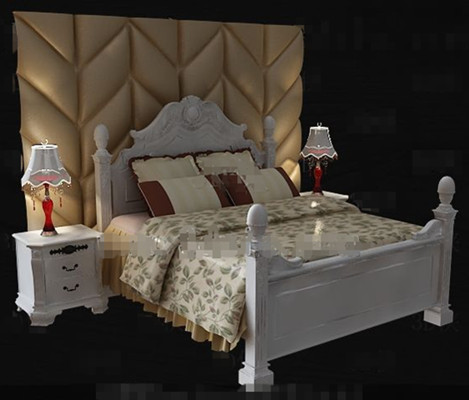 Exquisite wooden white double bed