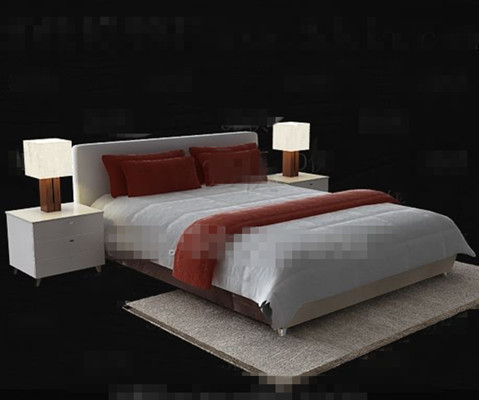 Simple modern white double bed