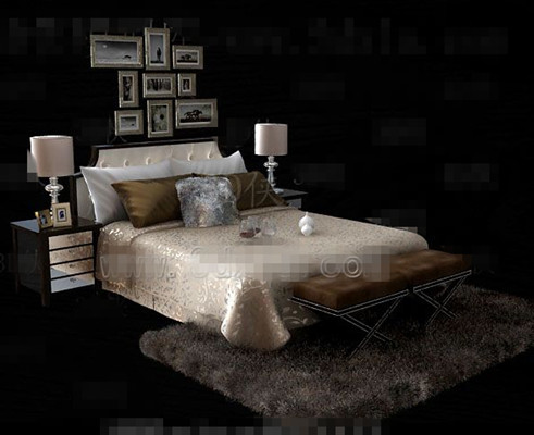 Gold luxury double bed 3D model