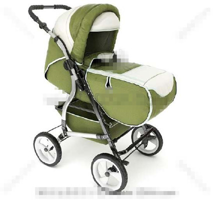Multi-functional green baby trolley bed