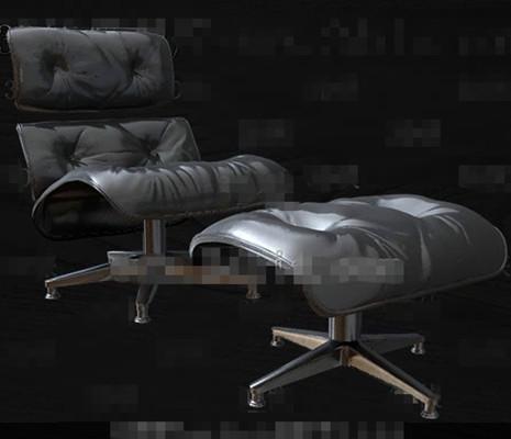 High-grade black leather single sofa