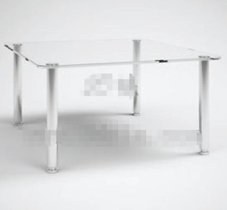 Transparent glass rectangular tea table