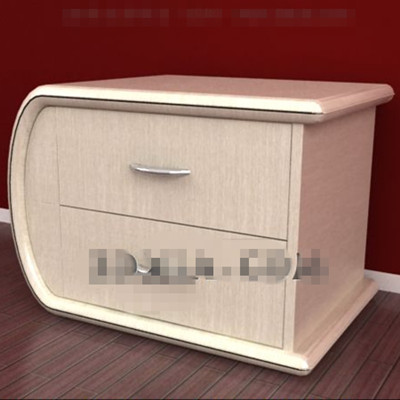 Yellowish curved bedside cabinets