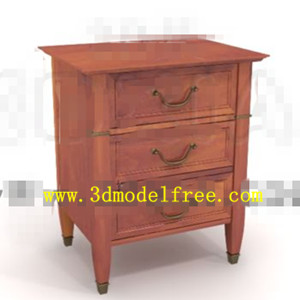 Three-drawers wooden bedside cabinet