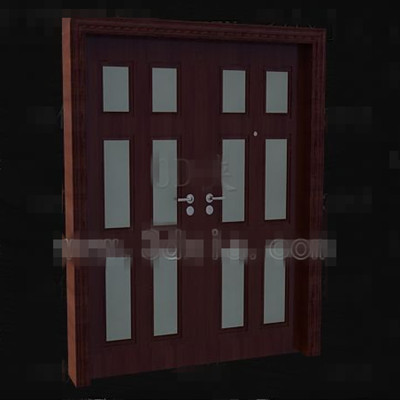 Reddish-brown wood metal handles door
