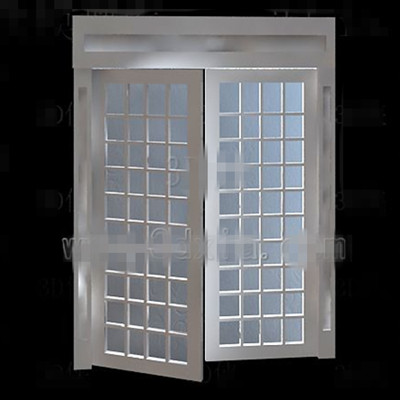 White wooden simple glass door