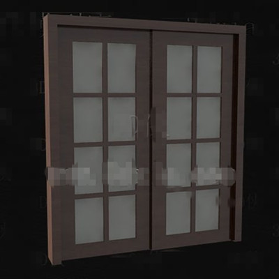 Brown wooden glass doors