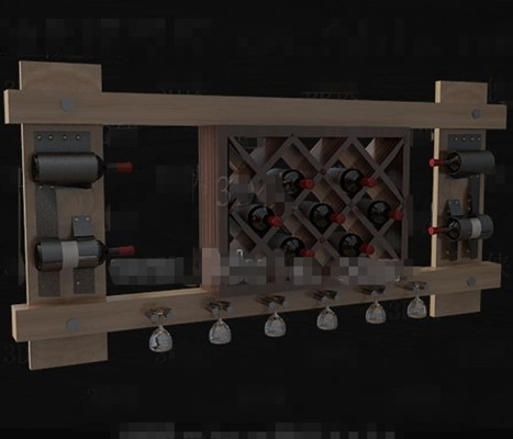 Wooden red wine shelf