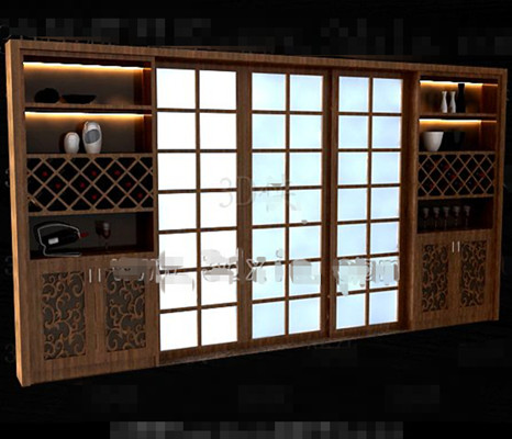 Brown wooden Japanese-style wine cabinet