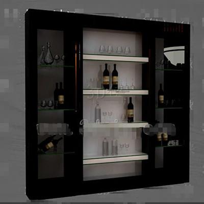 Black glass doors wine cabinet