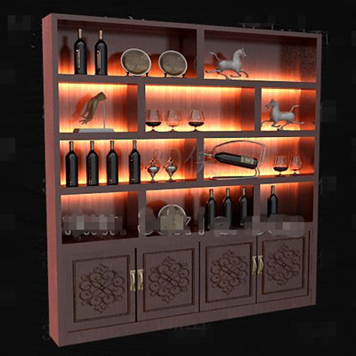 Red wooden Chinese style wine cabinet