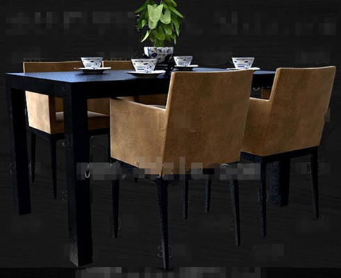 Black and brown-yellow four persons table