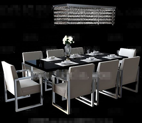 Long black dining table combination