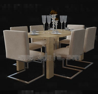 Warm beige long dining table combination