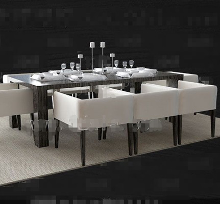 Dark long dining table combination