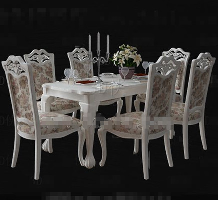 White floral pastoral style dining table