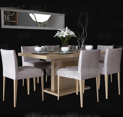 White wooden simple dining table
