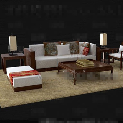 Brown wooden white fabric sofa combination