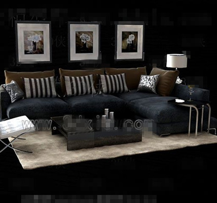 Gray and black fabric sofa combination