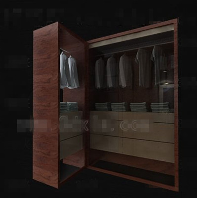 Practical brown wooden wardrobe