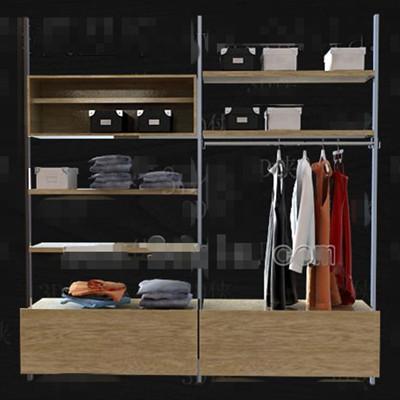Metal stents wood drawers wardrobe