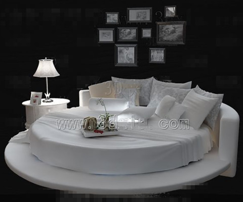 White fashion personality round double bed