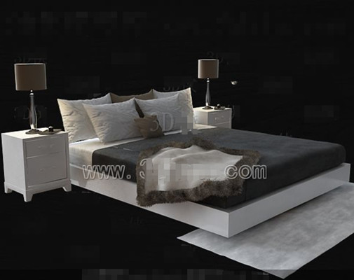 White simple double bed