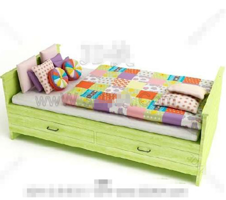 Green with drawers wooden Children Bed
