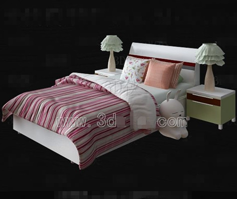 Pink and white bed linen Children bed