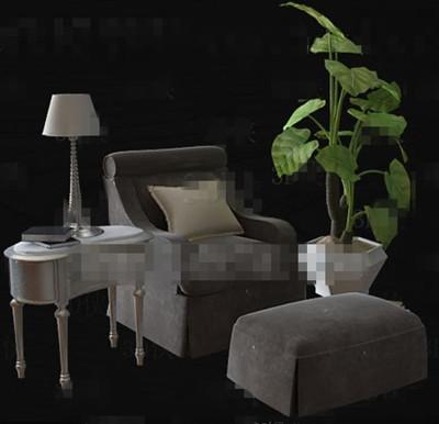 Gray comfortable single sofa combination