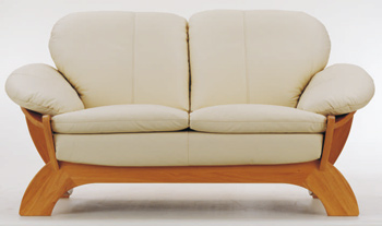 European light-colored leather sofa -2