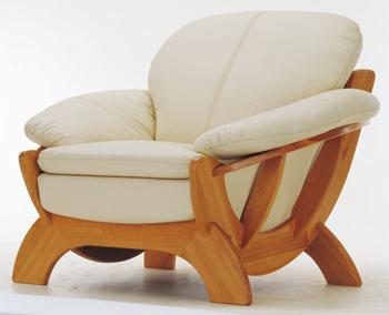 European light-colored leather sofa -1