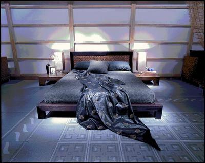 3D model of dark wood bed