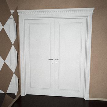 Modern white double doors