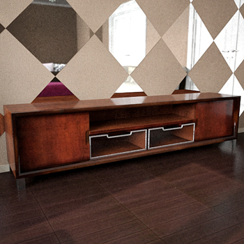 Old-styled TV-shelf