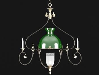 European green shade simple chandelier